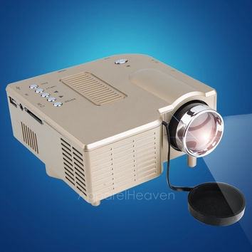 Brand New Gold HD Portable Mini Multimedia LED Projector For Home Cinema Theater Computer PC&Laptop TV Displayer VGA USB SD AV HDMI US Plug Hot Se AP = 1645911556