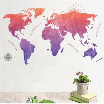 Colorful World Map Sea Wall Decals Stickers