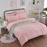 New Contracted Bedding Sets Beautiful Velvet pink princesses Warm in winter king duvet cover bed sheet pillowcase