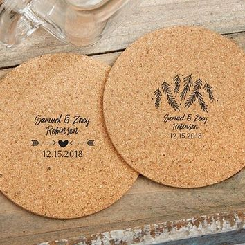 Personalized Round Cork Coasters - Winter (Set of 12)
