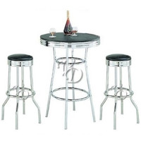3 Piece Retro Dining Set with Round Table and Two Stools