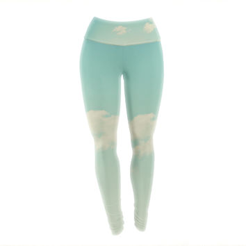 "Libertad Leal ""Cloud 9"" Blue Sky Yoga Leggings"