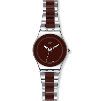 Swatch YLS163G Women's Stainless Steel & Brown Ceramic Brown Dial Watch