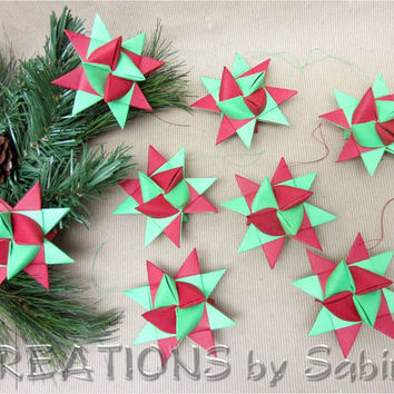Moravian Paper Stars / Set of 8 / Red Green / German Froebel Advent Christmas Traditional Star Ornaments Germany Gift / READY TO SHIP (28)
