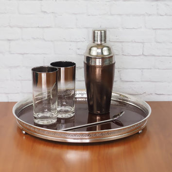Vintage 1960's Serving Tray LARGE // Silverplate and Formica Crescent Tray // Retro Mad Men Barware