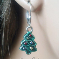 Silver Christmas Tree Earrings with Tinted Epoxy Resin- Christmas Tree Jewelry - Christmas Earrings - Christmas Jewelry - Holiday Jewelry -