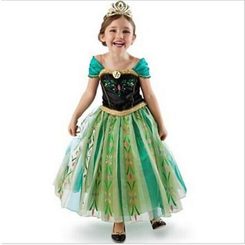 New Girls Dress Cartoon Green Cosplay Snow Queen Princess Dresses Elsa Dresses Anna Costume Baby Children Clothes Kids Clothing