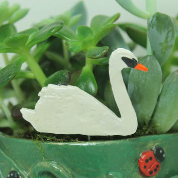 Swan  miniature plant stake Pot decoration