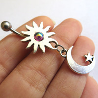 Celestial Moon Star And Sun Blue Opal Rainbow Garnet Gem Stone Belly Button Ring Jewelry Charm Dangle Navel Piercing Bar Barbell