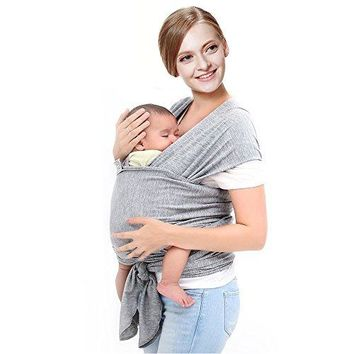 Baby Wrap – Baby Sling Wrap Carrier By GreatProducts4u, Soft & Stretchable – Organic Cotton for Infants, Hands Free - Nursing Cover Great Baby Shower Gift - Both Men & Women (Grey)