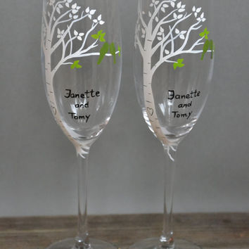 Hand painted Wedding Toasting Flutes Set of 2 Personalized Champagne glasses White birch tree and green birds