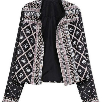 Black Fence Pattern Long Sleeve Blazer