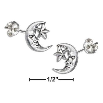 STERLING SILVER MOON FACE AND STAR EARRINGS ON STAINLESS STEEL POSTS AND NUTS