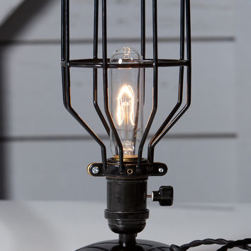 Industrial Desk Lamp - Black Wire Cage Table Light