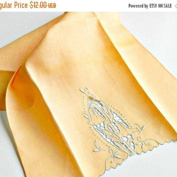 ON SALE Vintage Handmade Linen Tea Towel, Apricot Guest Towel, Embroidered Peach & White Linen Tea Towel.
