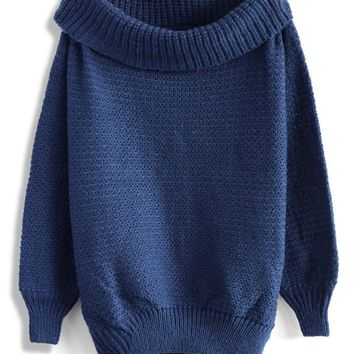 Slouchy Off-shoulder Sweater in Blue