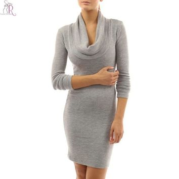 Women Mini Shift Dress High Cowl Turtle Neck Long Sleeve 4 Colors