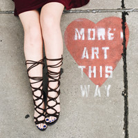 A Lace Up Gladiator in Chocolate