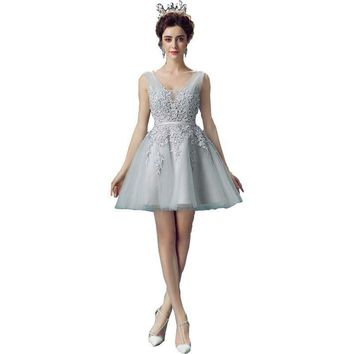 Prom Dresses Short Lace Gray Deep V neck Puffy Party Transparent Evening Gowns