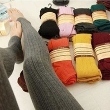DKJN6 Winter Warm Candy Color Twist Wheat Stripe Knit Thick Stretchy Pantyhose Foot Tights Stirrup Leggings
