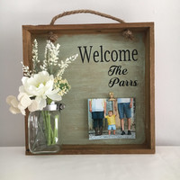 Personalized Wedding gift home decor rustic planter box welcome sign mason jar wood box family photo frame custom gift