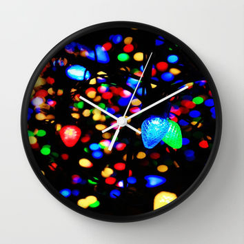 Christmas Lights Wall Clock by 2sweet4words Designs | Society6