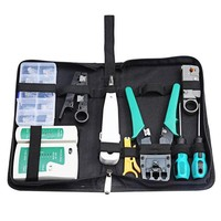 DCCKFS2 Network Tool Bag 11 in 1 Crimping Knife / LAN cable tester / Wire stripping / screwdriver / connector Computer Maintenance Kits