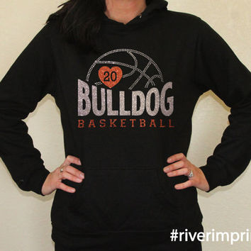 Hoodie BASKETBALL Personalized Hooded Lightweight Sweatshirt, with rhinestones and custom sparkle glitter lettering - choose from 2 styles