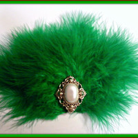 Fluffy Holiday Green Hair Fasicnator