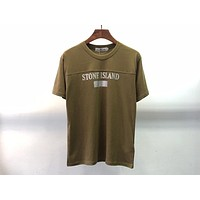 Stone Island 2019 new 3M reflective logo round neck half sleeve T-shirt Army green