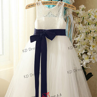 ON SALE !!! Ivory Lace Keyhole Tulle Flower Girl Dress Children Birthday Party Dress Kids Dress with Navy Blue Sash/Bow(Z1026)