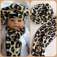 Baby Girl Infant Toddler Leopard Beret Hat Scarf Matching Set Warm Fleece Black Bow