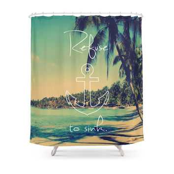 Society6 Refuse To Sink Anchor Vintage Summer Beach Shower Curtains