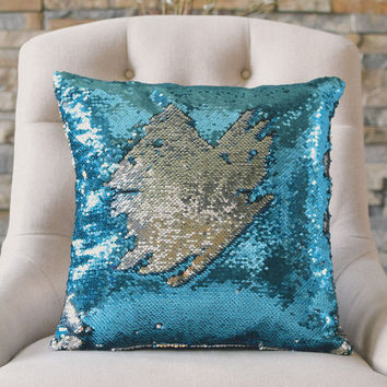 Lake Blue & Silver Sequin Mermaid Pillow