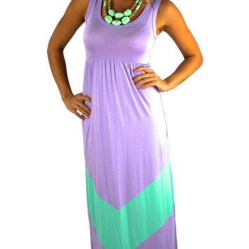 Sleeveless Chevron Maxi Dress - Lavender/Mint