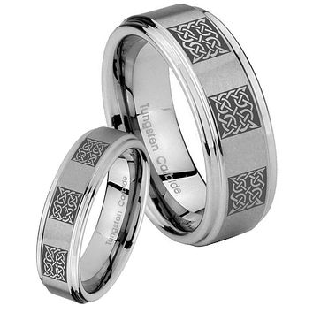 His and Hers Step Edge Multipe Square Celtic Tungsten Silver Wedding Rings Set