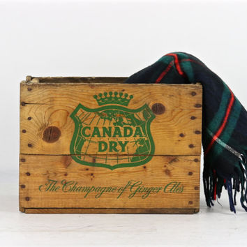 Canada Dry Wood Crate Vintage Canada Dry Wood Crate, Canada Dry The Champagne Of Ginger Ales Wood Crate Canada Dry Wooden Crate Industrial