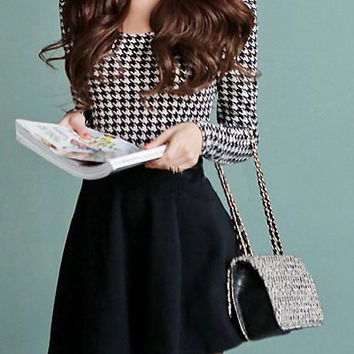 Houndstooth Print Long Sleeve Ruffled Dress