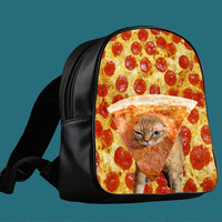 Pizza Cat Because Cat Love Pizza for Backpack / Custom Bag / School Bag / Children Bag / Custom School Bag *
