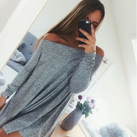 Boat Neckline Off The Shoulder Casual Loose Long Sleeved Women Dress
