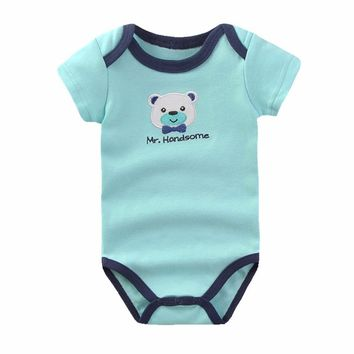 Baby Clothing One-Pieces Baby Bodysuit Girl Boy Short Sleeve Bear Embroidered Summer Clothes for Newborn Jumpsuits Costume B-02