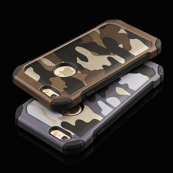 6 6s 2 in 1 Army Camouflage Case For iphone 4 4s 5 5S SE 6 6s Plus Armor Case Fashion Hybrid Hard PC + Soft TPU Protective Cover