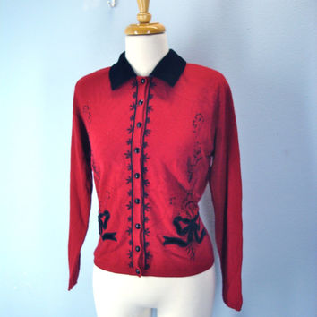 80s red cropped cardigan sweater beaded embroidered black velvet collar