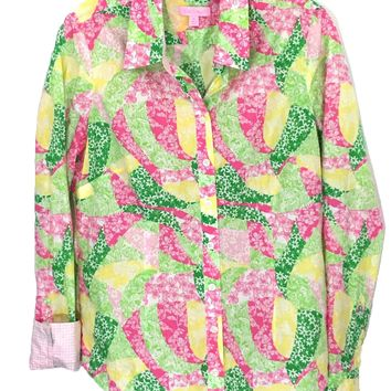 Lilly Pulitzer Floral Shirt Button Down Contrast Flip Cuff Blouse Womens 6 - Preowned