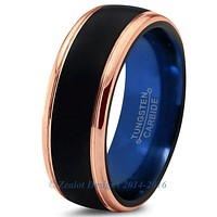 Blue Chromacolor Black Tungsten Beveled Rose Gold Plated Ring