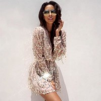 Fashion Online Fringed White Sequined Long-sleeved Dress Package Hip