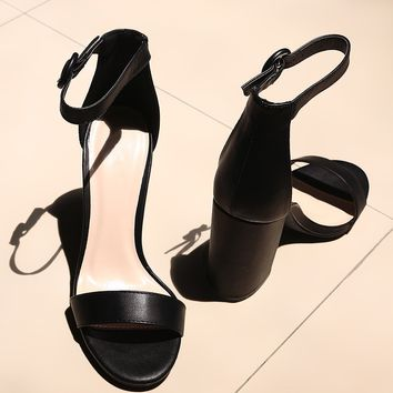 Qupid Open Toe Ankle Strap Chunky Heel
