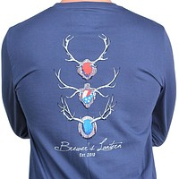 Long Sleeve Antlers Tee in Ole Blue by Brewer's Lantern