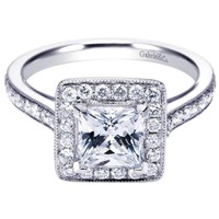 1.80cttw Princess Cut Halo Diamond Engagement Ring with Bead Set Side Diamonds