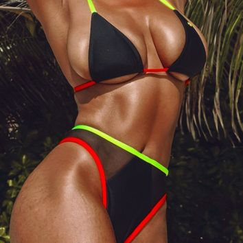 New solid color bikini mesh stitching swimsuit ladies split swimsuit sexy bikini